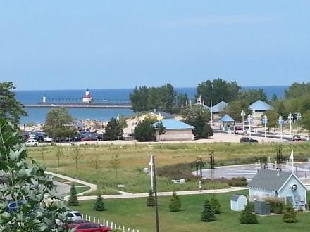 We strolled along a walkway overlooking Lake Michigan