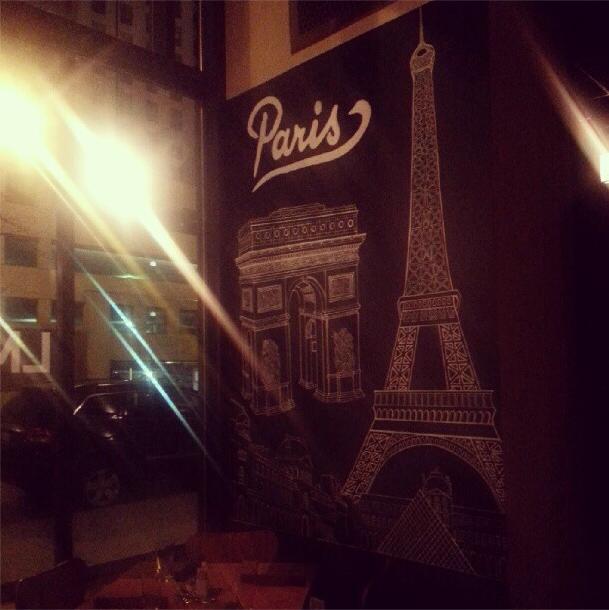 Chalkboard Eiffel Tower at LM Bistro