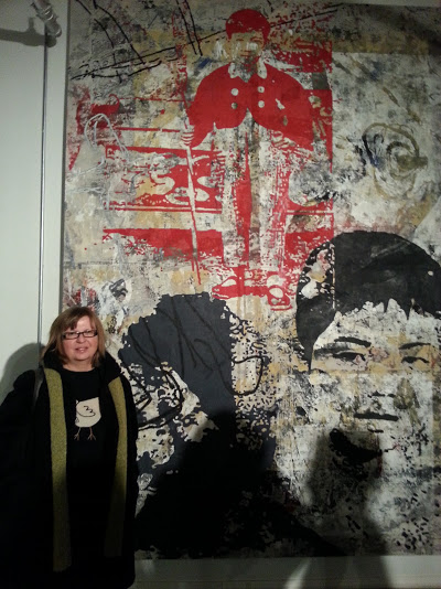 My mom in front of a huge piece in the Zhou B Art Center's main gallery