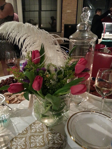 Feathers to add a little flair to the flowers, and glassware from HomeGoods