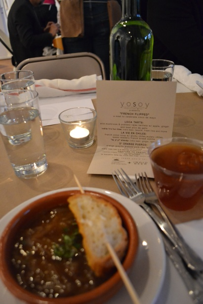 French onion soup & menu for the night