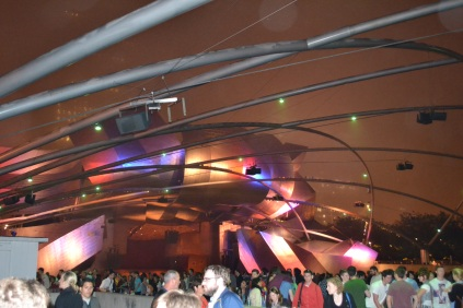 The Pritzker Pavilion lit up at the end of the night