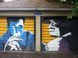 Bluesy street art on a garage in Wicker Park