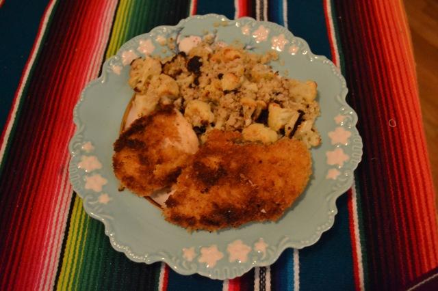 Spicy chicken milanese and cauliflower with quinoa