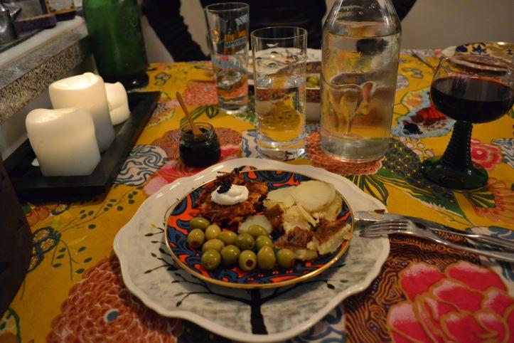 Appetizer plate: Spanish tortilla, olives, butternut squash rosti cakes