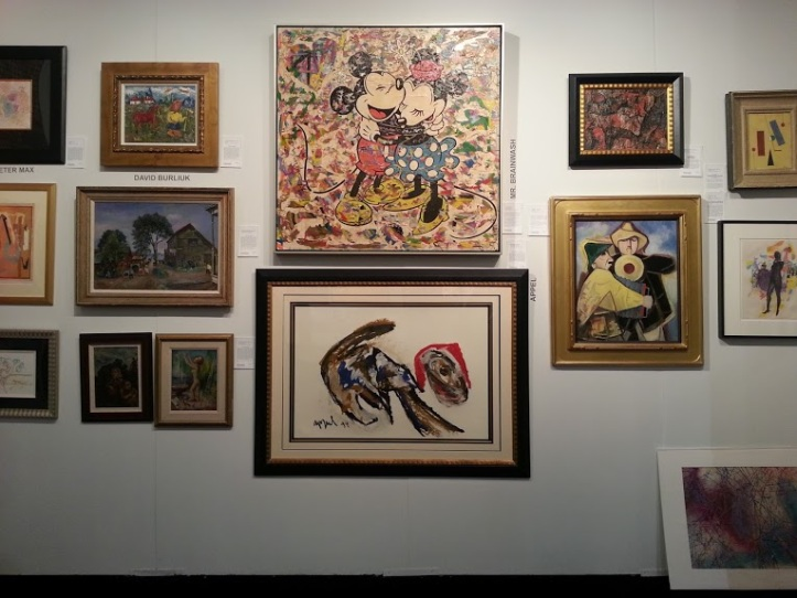 Another gallery at the Red Dot Fair. I a just obsessed with the painting on the bottom that looks like a scribbled puppy wearing a Santa hat.