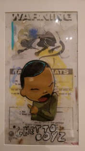 hebru brantley parade day rain art exhibit chicago cultural center warning sign street art