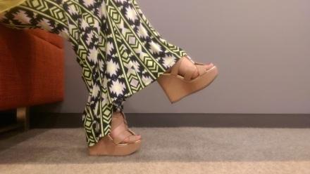 ootd pink gold wedge platform sandals