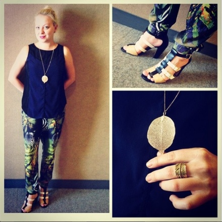 Outfit of the day ootd safari pants vince camuto shoes gold leaf necklace