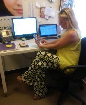 Hard at work. Calculating.