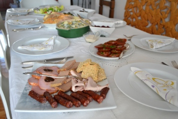 easter brunch table polish kabanos sausage pasztet pate deli