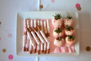 baby shower pink dessert table