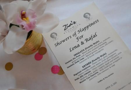 Baby shower pink girl menu flowers bouquet centerpiece