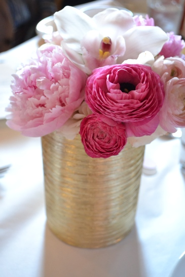 pink flowers bouquet centerpiece baby shower girl