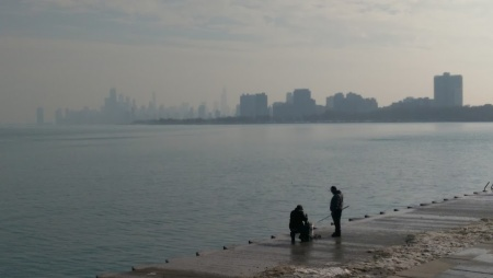 chicago downtown lake michigan skyline fishermen fog