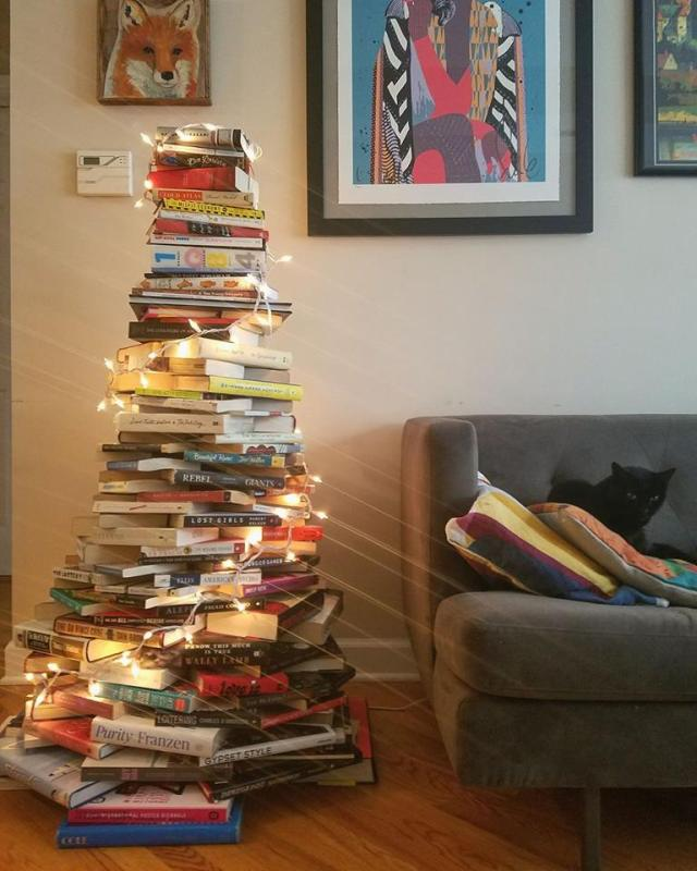 diy book tree christmas