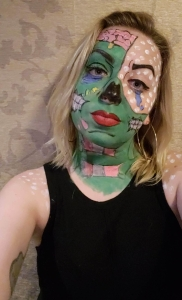 pop art zombie halloween makeup look
