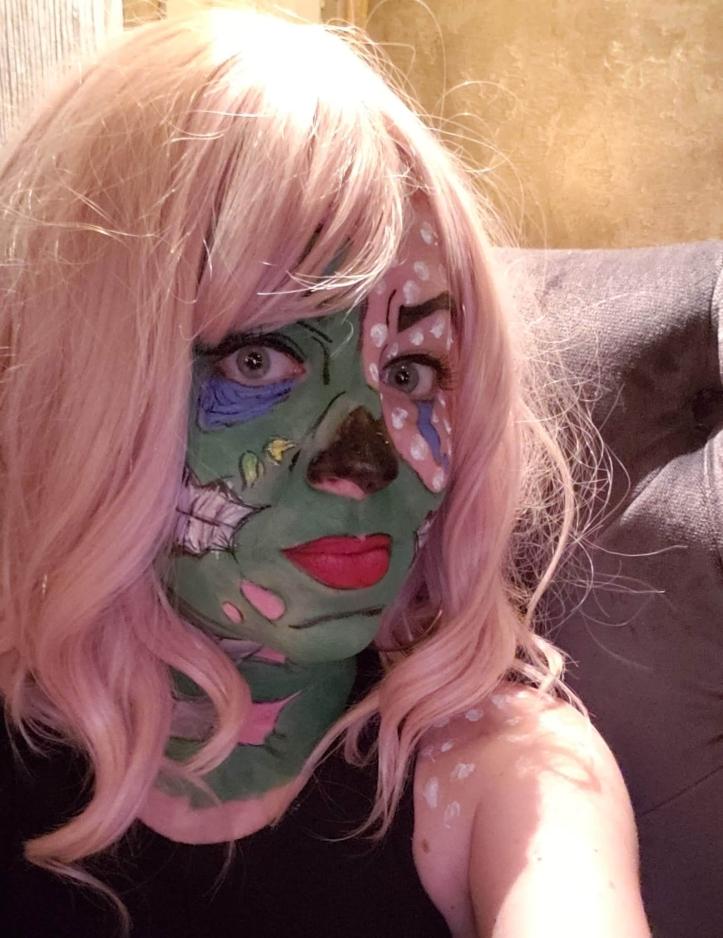 pop art zombie halloween makeup look